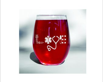 Deep engraved dishwasher safe nurse or medical professional gift or wine glass. gift for np, lpn, rn, md wine glass