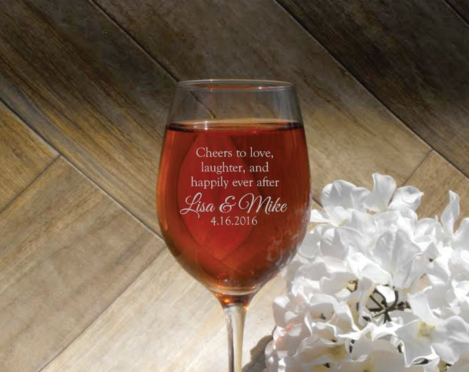 Deep Engraved Dishwasher Safe Cheers to Love, Laughter, and Happily Ever After - Wine Glass, Whiskey Glass, Glass Coffee Mug, Champagne Flut