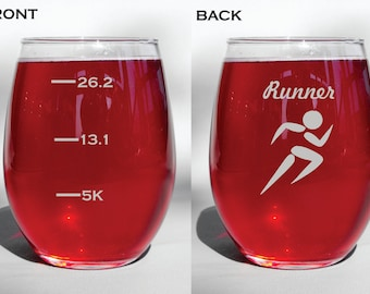 Deep Engraved Dishwasher Safe Funny Runner Personalized Glass - Choice of Wine Glass, Whiskey Glass, Glass Coffee Mug, Champagne Flute