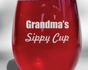 Deep Engraved Grandma's Sippy Cup Etched Glass - Choice of Wine Glass, Whiskey Glass, Glass Coffee Mug, Champagne Flute