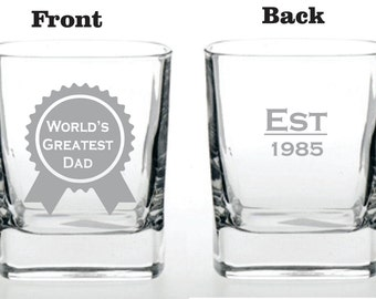 Deep Engraved Dishwasher Safe World's Greatest Dad EST Established Glass - Personalized - Choice of Whiskey, Pilsner, Glass Mug, Wine Glass