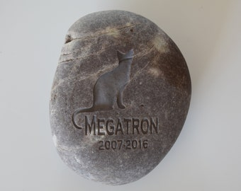 Real Rock Personalized Pet Memorial Stone on Natural River Rock - Pet memorial gift