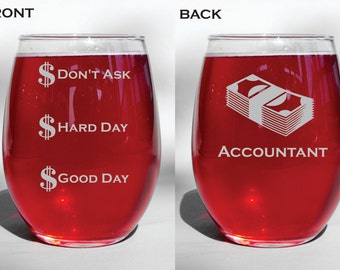 Deep Engraved Accountant Etched Dishwasher Safe Funny Wine Glass, Whiskey Glass, Glass Coffee Mug, - Gift
