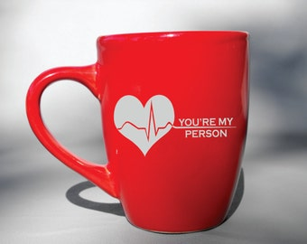 Deep Engraved Grey's Anatomy You're My Person Ceramic Coffee Mug - Black, and Blue - Choice of Mug or Glass Best friends Christmas