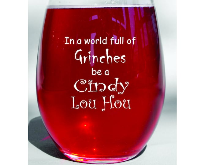 Grinch Christmas Holiday Party Cup Wine Glass or Mugs - Funny Holiday Gift for Mom or Boss - Coworker Engraved Gift - Holiday Gift Glass