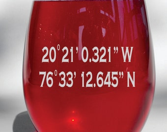 Deep Engraved Dishwasher Safe Custom Coordinates Wine Glass, Whiskey Glass, Glass Coffee Mug, Champ Flute
