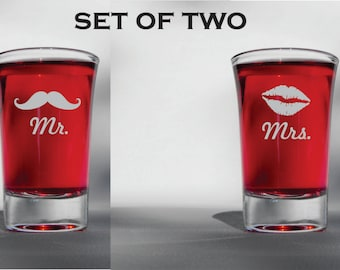 Deep Engraved Mr. and Mrs. Mustache and Lips Wedding Shot Glasses - Funny Wedding Gift - Free Personalization - Dishwasher Safe -