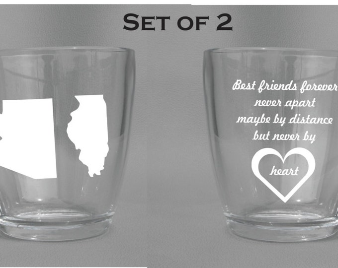 Deep Engraved Dishwasher Safe Best Friend Distance State Mugs (Set of 2) - Free Personalization Included - Choice of Coffee Mug, Wine Glass