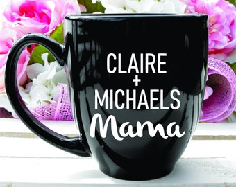 Deep Engraved Dishwasher Safe Personalized Mama Coffee Mug or choice of Glassware. Gift for Mom
