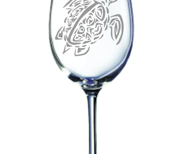 Deep Engraved Dishwasher Safe Tribal Turtle Tuortoise Wine Glass, or choice of glass. Personalized Turtle Gift. Turtle Art. Ocean Wine Glass