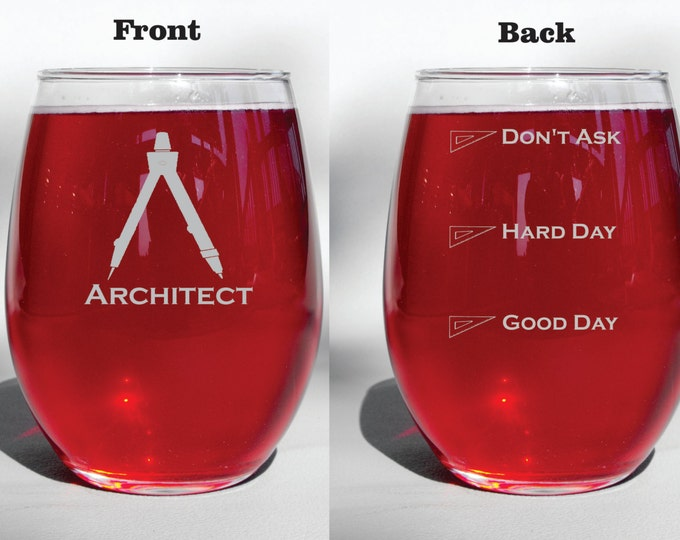 Deep Engraved Dishwasher Safe Personalized Architect Glass - Choice of Wine Glass, Whiskey Glass, Glass Coffee Mug, Champagne Flute