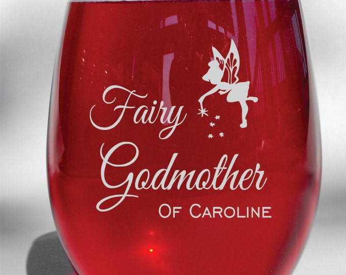 Deep Engraved Dishwasher Safe Fairy Godmother Personalized Glass - Choice of Wine Glass, Whiskey Glass, Glass Coffee Mug, Champ Flute