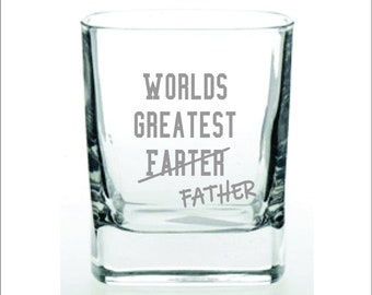 World's Greatest Farter Father rocks whiskey glass, Gift for Dad, Father's Day Mug Gift, Gift for Him, Funny Mug, Birthday Gift for Him
