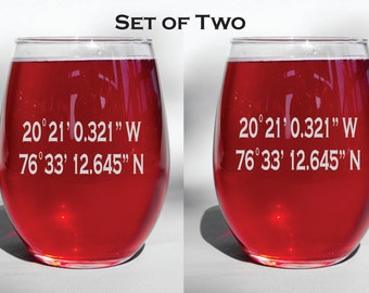 Deep Engraved Dishwasher Safe Set of Two Coordinates Glasses, Wine Glasses, Whiskey Glasses, Pilsner, Beer Mugs, Mason Jar Mugs, Coffee mugs