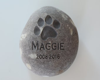 Personalized Pet Memorial Stone on Natural River Rock - Pet memorial gift