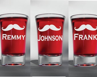 Deep Engraved Dishwasher Safe Mustache Groomsmen Shot Glasses - Groomsman Shot Glass - Personalized - Bachelor Shot Glasses - Bachelor gift