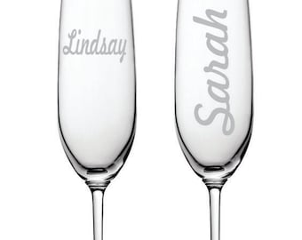 Personalized Deep Engraved Dishwasher Safe Champagne Flutes - Etched Champagne Flutes - Custom Champagne Flute - Personalized - Your Design