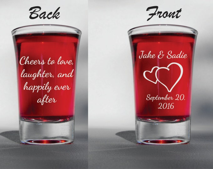 Deep Engraved Dishwasher Safe Cheers to Love, Laughter, and Happily Ever After Personalized Wedding Favour Heart Shot Glasses - Front & Back
