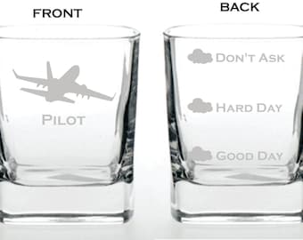Deep Engraved Dishwasher Safe Funny Good Day, Hard Day, Don't Ask Pilot Whiskey Glass - Funny Pilot Gift - Pilot Glass