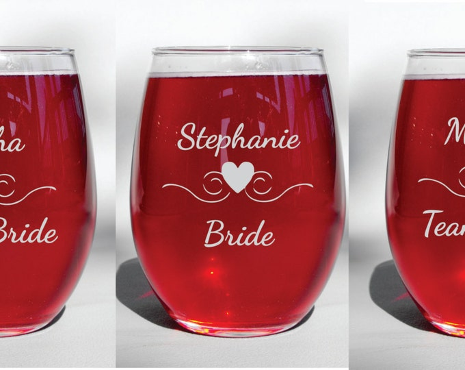 Deep Engraved Dishwasher Safe Personalized Team Bride - Bridesmaid Bachelorette or Bridal Shower Stemless WIne Glasses, Stemmed, Champagne
