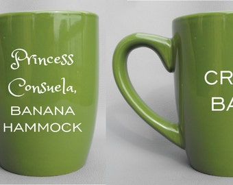 Deep Engraved Dishwasher Safe Princess Consuela, Banana Hammock and Crap Bag Gift Set for Couples, Choice of Mugs and Color