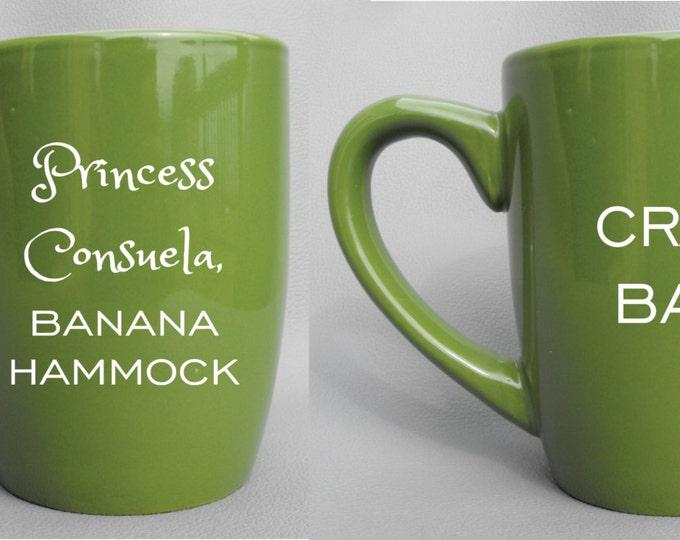 Deep Engraved Dishwasher Safe Princess Consuela, Banana Hammock and Crap Bag Gift Set for Couples, Choice of Mugs and Color