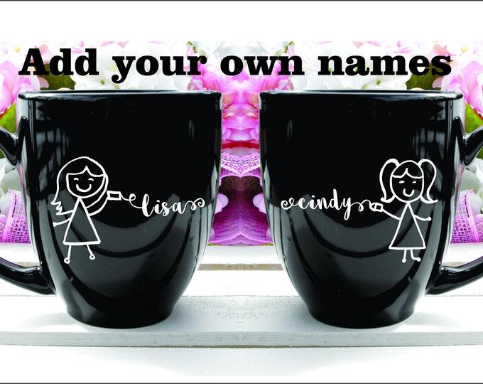 Deep Engraved Dishwasher Safe Best Friend/Friendship Coffee Mugs, Personalized Long Distant Sisters or Friends Mug, Friendship Mug Gift