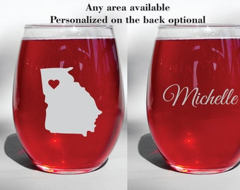 Deep Engraved Dishwasher Safe - Any State, Province, or Country - Wine Glass, Whiskey Glass, Glass Coffee Mug, Champagne Flute