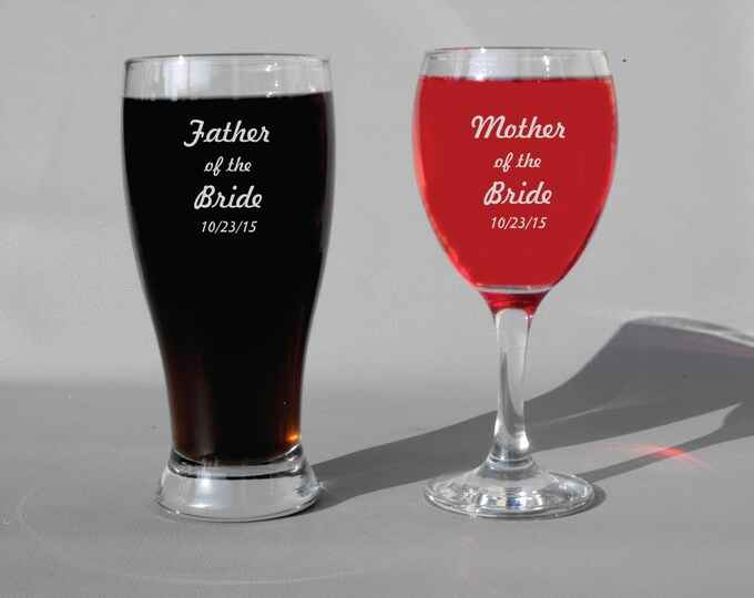 Deep Engraved Dishwasher Safe Mother of the Bride Father of the Bride Set of Two Glasses - Wine Glasses, Beer Glasses, Whiskey Glasses