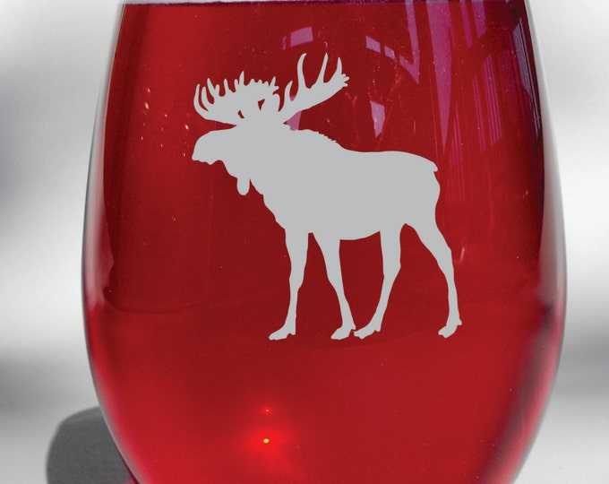 Deep Engraved Dishwasher Safe Etched Moose - Choice of Stemless Wine Glass, Whiskey Glass, Glass Coffee Mug, Champ Flute