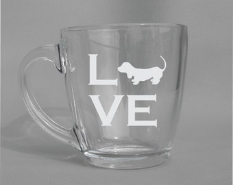 Deep Engraved Dishwasher Safe Dachshund Weiner Dog Wine Glass, Whiskey Glass, Glass Coffee Mug, Champ Flute