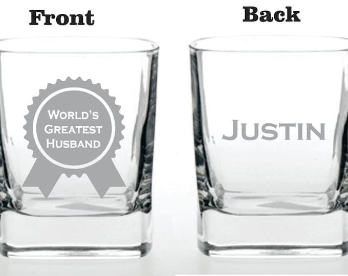 Deep Engraved Dishwasher Safe - World's Greates Husband Wine Glass, Whiskey Glass, Glass Coffee Mug, Champagne Flute - Personalized