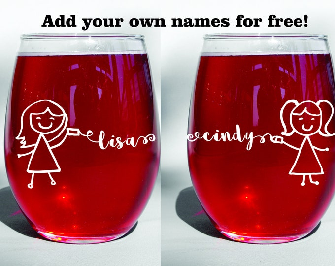 Deep Engraved Dishwasher Safe Long Distance Friendship BFF Best Friend, Sisters, Mother Daughter Wine Glasses set of two