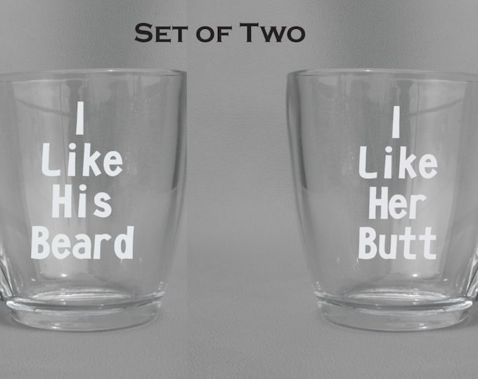 Engraved Dishwasher Safe His and Hers Mugs - I like his beard - I like her butt - Funny Gift for the Couple - Coffee Mugs, Wine Glasses