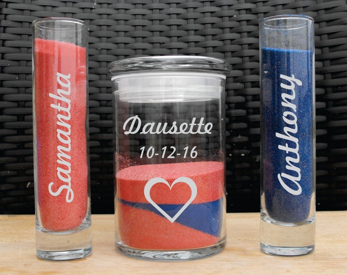 Personalized Engraved Dishwasher Safe Etched Ceremony Wedding Unity Sand Set - Your Choice of Design - Free Personalization Included