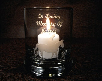 Deeply Engraved Custom Personalized Glass Candle Holder - Your Message and Design