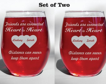 Deep Engraved Personalized Custom Long Distance Friendship Glasses - Friends Are Connected Heart to Heart - Dishwasher Safe
