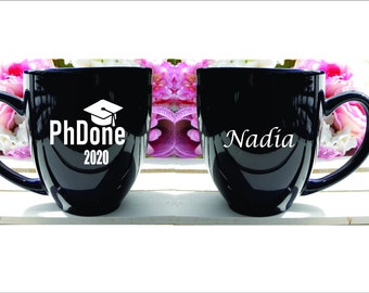 Funny PhD Coffee Mug, PhDone, Doctorate Degree Gift, Masters Gift, Graduation Wine Glass, Graduate Gift,Personalized, Engraved