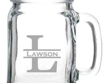 Deep Engraved Dishwasher Safe Monogrammed Glass Mason Jar Mug - Personalized Etched Glasses - Monogram Glass Mug