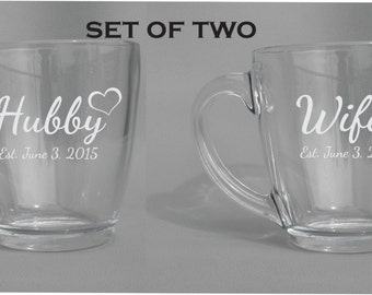 Deep Engraved Dishwasher Safe Hubby and Wifey Personalized Mug Set of Two - Husband and Wife Gift - Gift for the Bride and Groom - Glass Mug