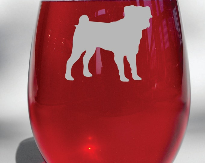 Deep Etched Engraved Pug Glass - Choice of Stemless Wine Glass, Stemmed Glass, Pilsner Glass, Whiskey Glass, Glass Coffee Mug, Beer Mug