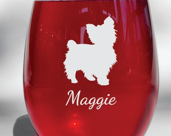 Yorkie Deep Engraved Dishwasher Safe Personalized Wine Glass, Whiskey Glass, Glass Coffee Mug, Champ Flute