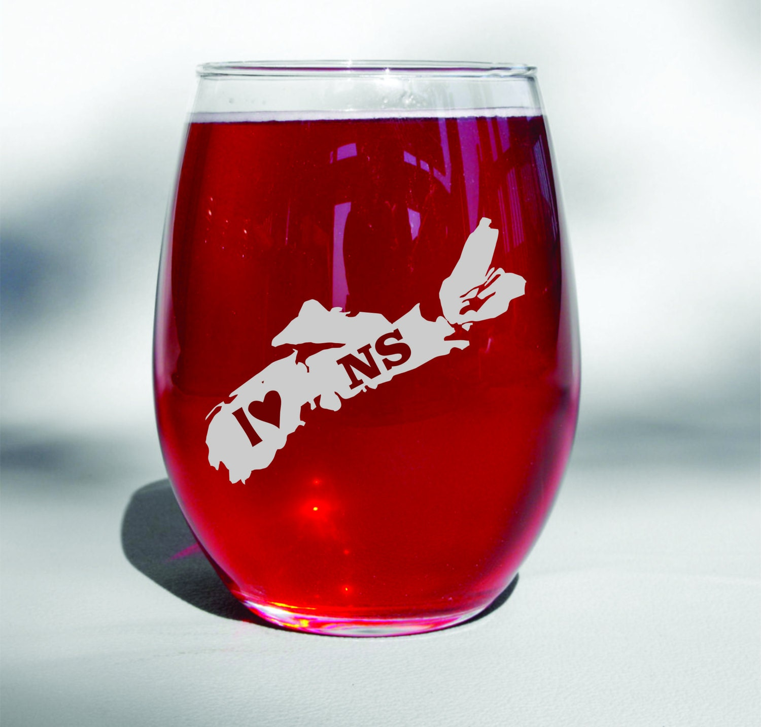 Deep Engraved Custom I Love Nova Scotia Ns Etched Wine Glass Wine
