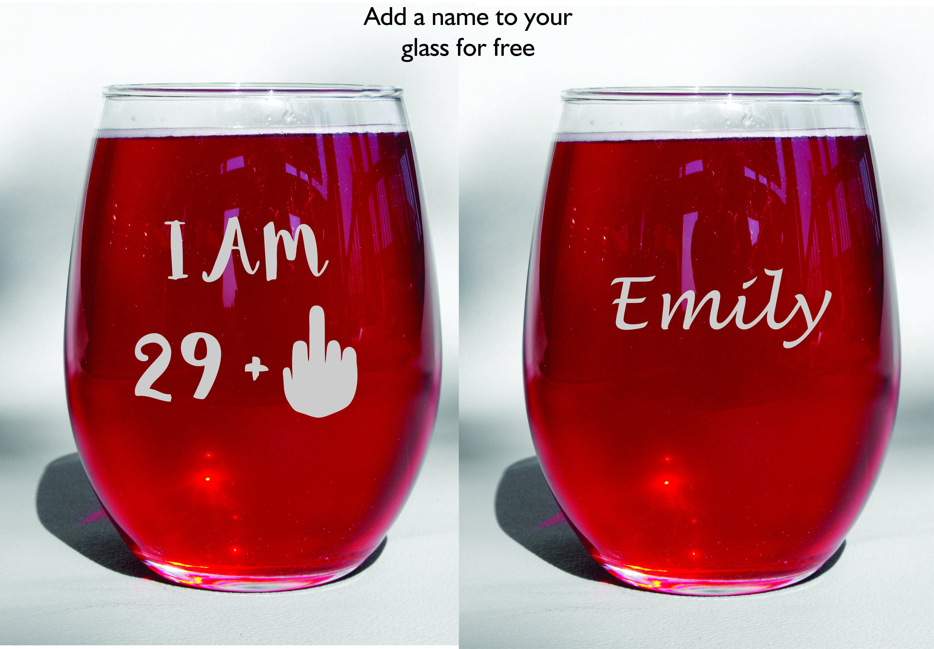 I Am 29 Middle Finger Stemless Wine Glass Best Friend Gift 30th Birthday 40th For Her
