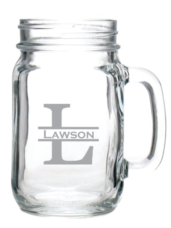 Deep Engraved Dishwasher Safe Monogrammed Glass Mason Jar Mug Etsy