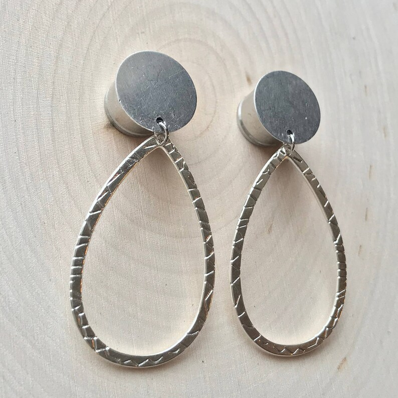 Silver Stamped Oval Hoop Dangle Plug Gauges 4g, 2g, 0g, 00g, 7/16, 1/2,  9/16, 5/8, 3/4