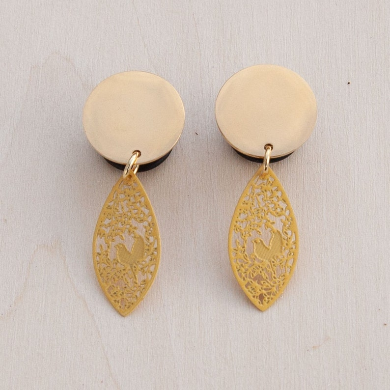 2g 0g 916 00g Small Yellow Love Birds Metal Laser and Gold Blank Dangle Plug Gauges  4g 58 716 34 12
