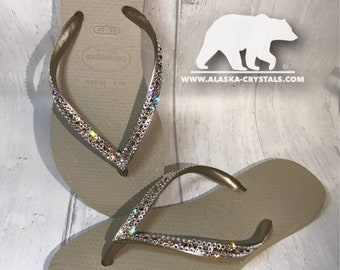 6b5d27f26953 Custom Wedding Havainain Flip Flops with Swarovski crystals