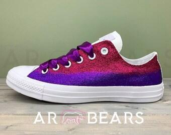 00ab551ac367 Custom Glitter Ombré Wedding Converse With Swarovski Crystals