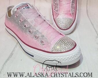 6ec02bd4b9704 Custom Glitter Ombré Wedding Converse With Swarovski Crystals